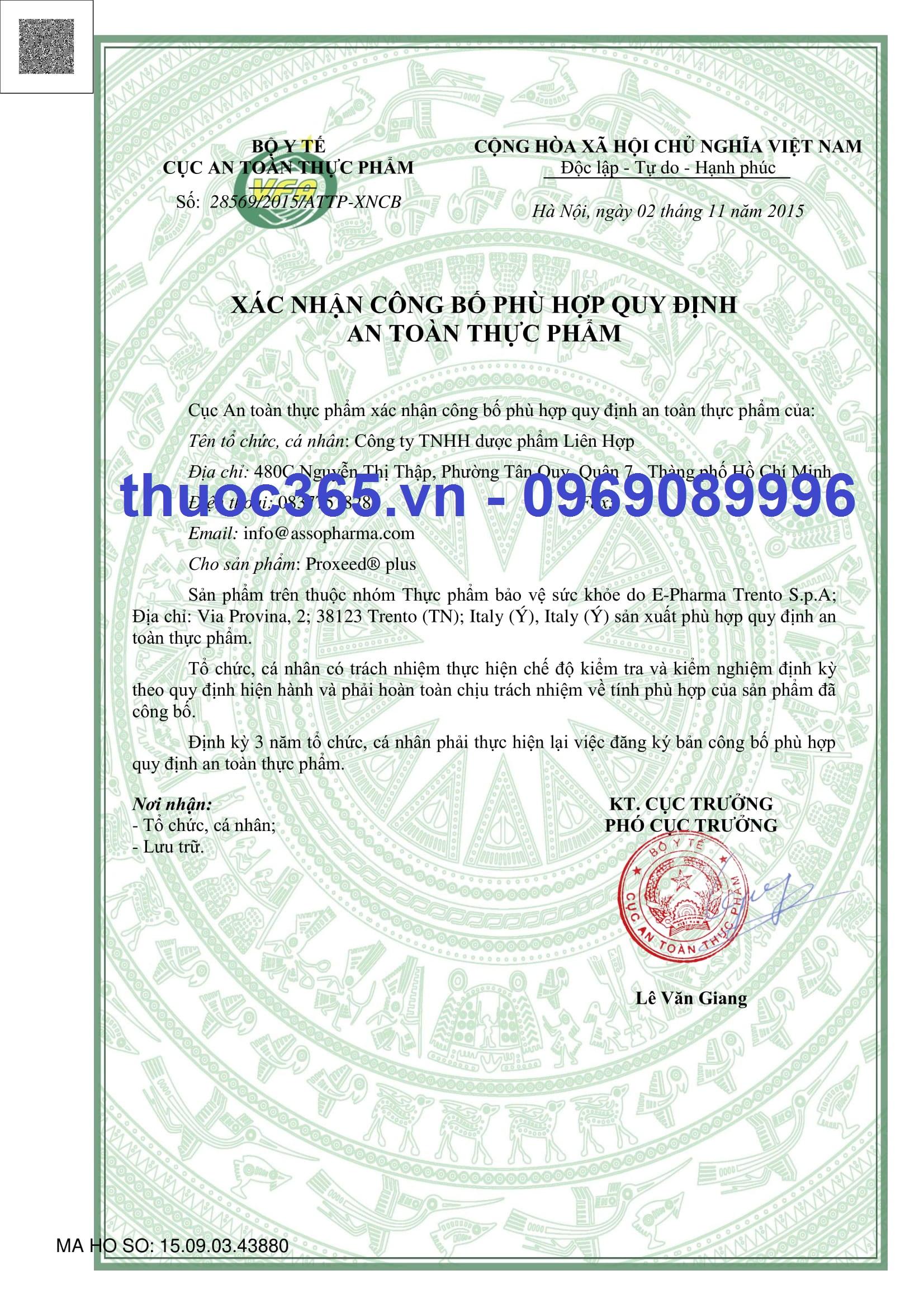Xác nhận công bố sản proxeed plus tại Việt Nam