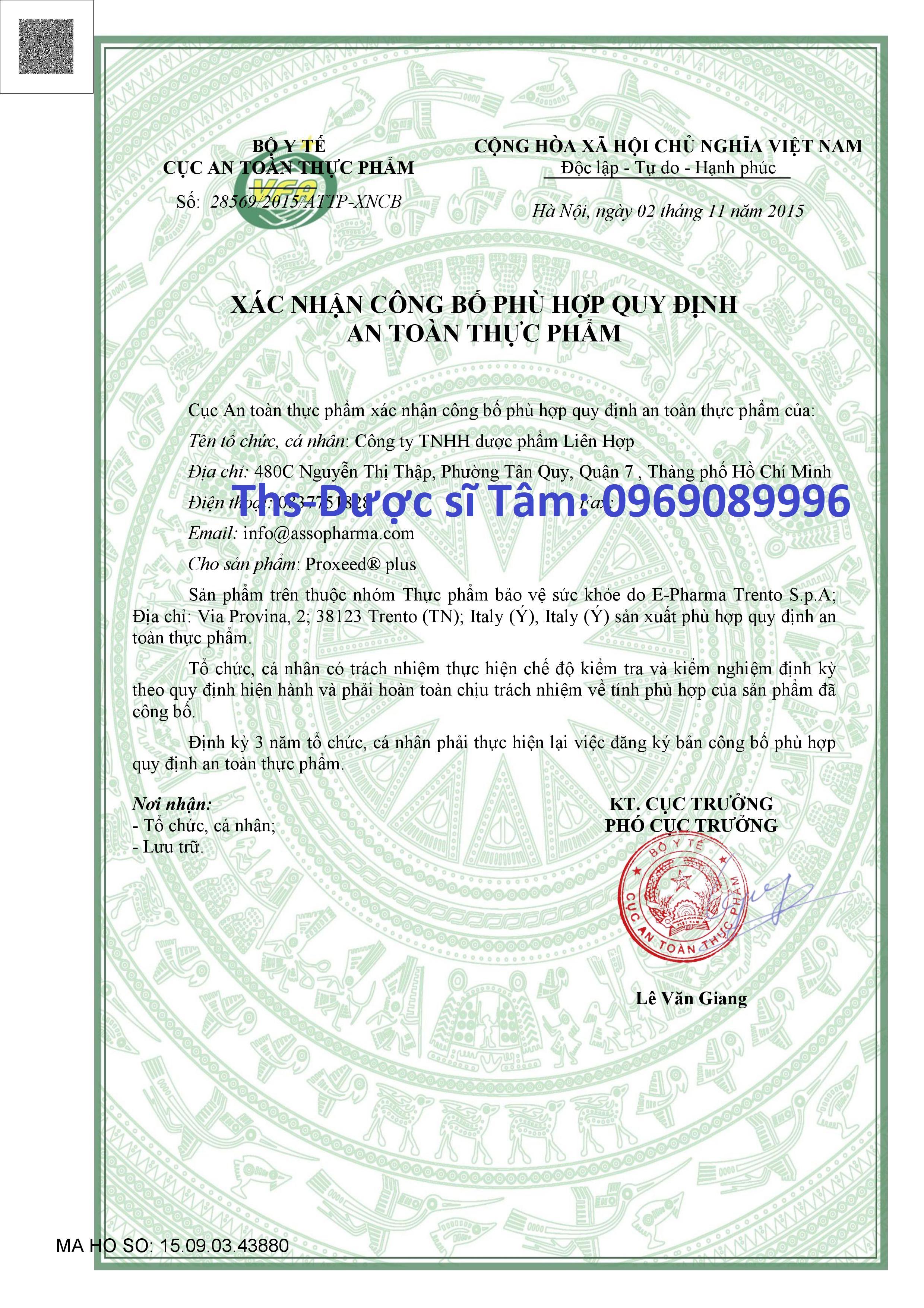 Công bố sản phẩm thuốc proxeed plus tại Việt Nam